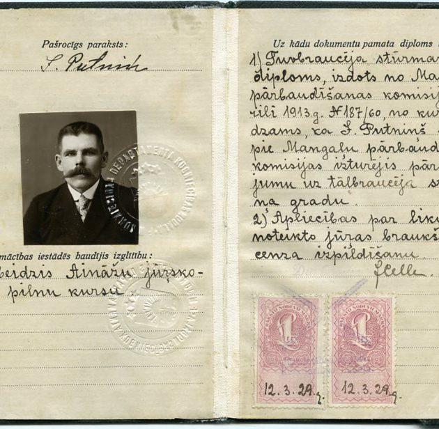 Ainažu jūrskolas absolventa Jāņa Putniņa diploms, 1929. g.