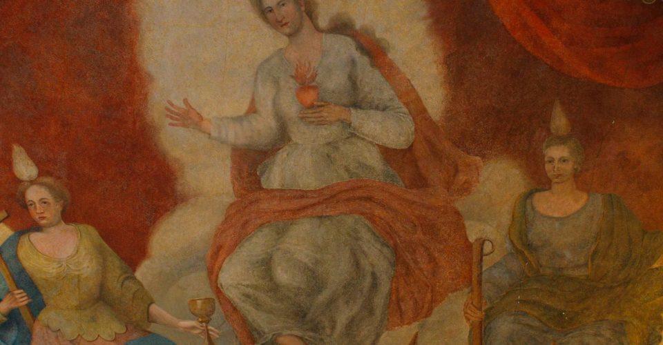 Griestu gleznojumi ar enģeļiem (No kreisās puses: Ticība, Mīlestība, Cerība)