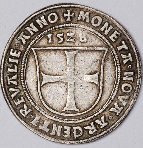 Livonijas ordeņa mestra Voltera fon Pletenberga (1494–1535) mārka, 1528. g. Reverss.