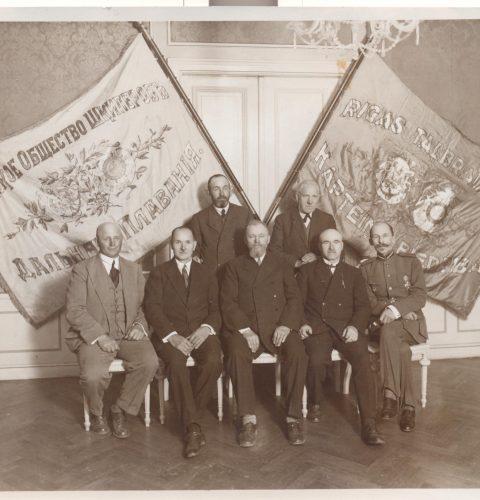 Rīgas tālbraucēju kapteiņu biedrības valde, 1929. g. Fotogrāfs nezināms.
