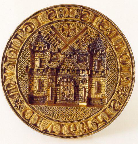 Rīgas pilsētas lielā zīmoga spiednis ar pilsētas ģerboni, 1347. g.