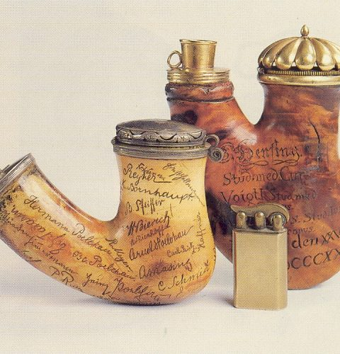 Wooden pipes of the students' corporations, with the members' signatures. Riga, 1903; Dorpat, 1825
