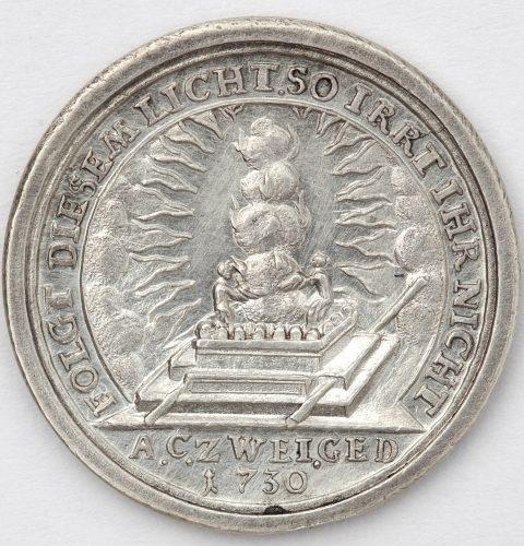 200-летие медаль деноминации Аугсбурга. Реверс. Германия, Нюрнберг, мастер медалей Д.З. Доклерс июнь 1730 г. Серебро.