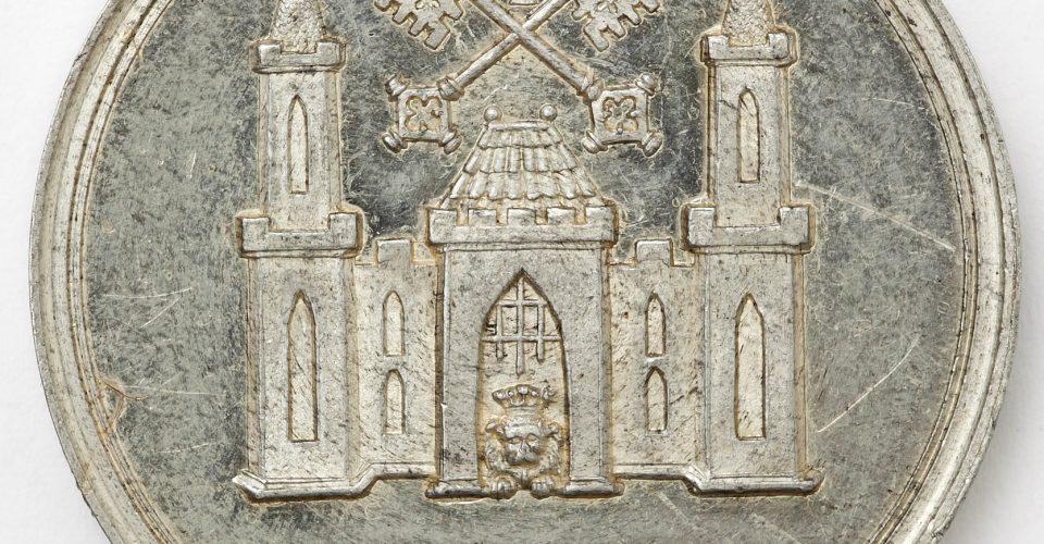 Piemiņas medaļa veltīta Mārtiņa Lutera (1483–1546) 400 gadei. Reverss. Rīga, medaļu meistars E. Bakstads, 1883. g. Alva.