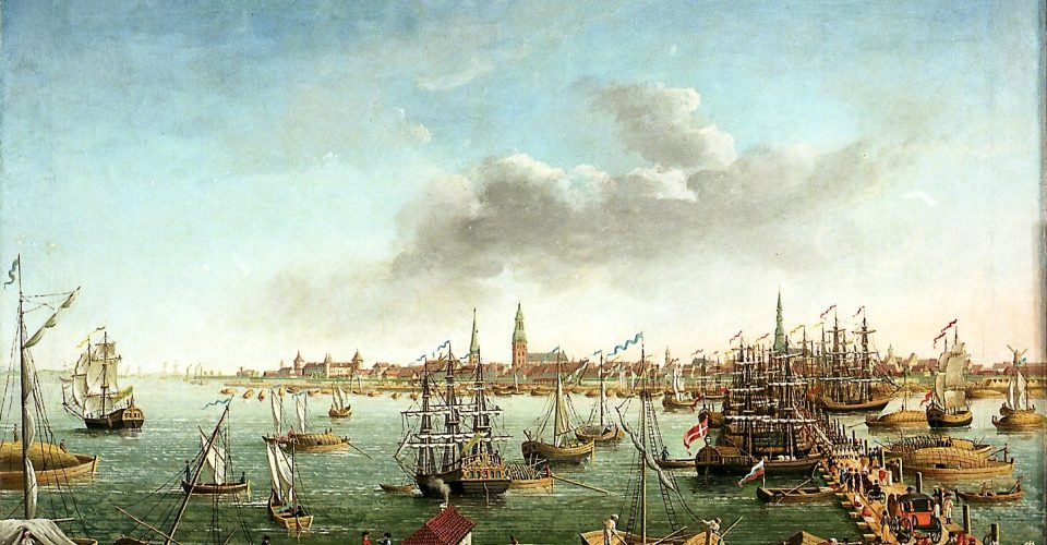 Rīgas skats no Pārdaugavas. 19. gs. sāk. K.T. Fehhelma kolorēta litogrāfija