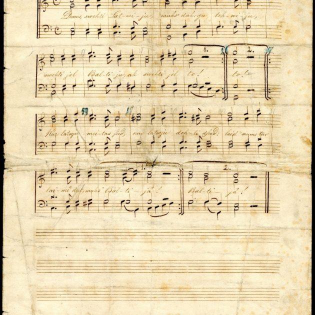 """Valsts himnas """"Dievs, svētī Latviju!"""" pirmais manuskripts glabājas Rīgas vēstures un kuģniecības muzeja krājumā!"""
